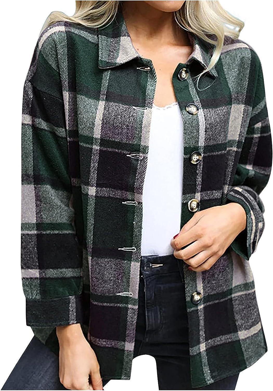 Womens Casual Plaid Shirt Jacket Stylish Button Down Long Sleeve Sweater Coat Shackets Lightweight Cardigans