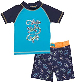 Mick Mack Baby Boys 2-Piece Rash Guard and Trunk Swimsuit Set (Infant & Toddler)
