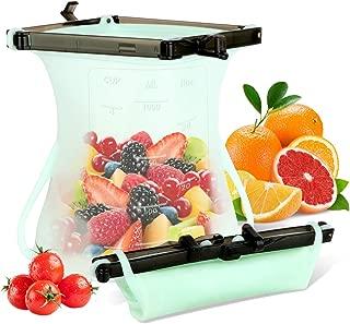 Bolsas de silicona GLUBEE Ziploc – Bolsas de congelación sin BPA, bolsas de almacenamiento de alimentos para aperitivos, verduras, carne, frutas, líquidos (1000 ml)