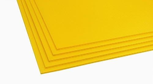 "RATIVE Coroplast Correx Poster Corrugated Plastics Sheets Sign Blank Board (24""x18""x4mm, 5-Pack/Yellow)"
