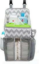 Playard Diaper Caddy and Nursery Organizer for Newborn Baby Essentials, Chevron Pattern, Grey and White, Baby Accessory Organizer by California Home Goods