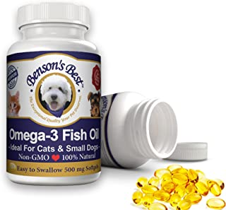 Benson's Best Omega-3 Fish Oil for Dogs (1000 mg) or Cats & Small Dogs (500 mg) - Provides 43% More Omega-3 Fatty Acids Than Salmon Oil! 100% Pure, Non-GMO, Natural Pet Food Supplement