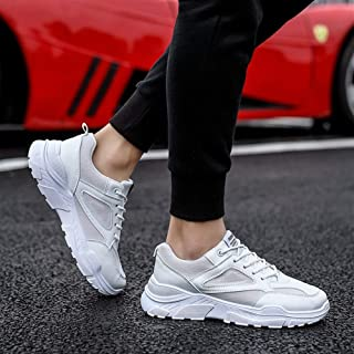 2019 Autumn New Men's Thick-Soled White Shoes Trend Fashion Wild Old Shoes Men's Shoes (Color : White, Size : 41)
