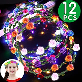 12 Pack Flower Crown Headband, LED Flower Wreath Headband 10 Led Flower Headdress Xmas Holiday Party Favors Light Up Toys for Girls Women Wedding Festival Holiday Christmas Party Supplies Decoration