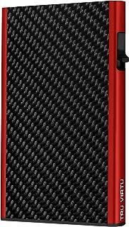 TRU VIRTU® Tarjetero Click & Slide Fibra de carbón Negro/Rojo I Estuche para Tarjetas de crédito I con protección RFID-NFC...