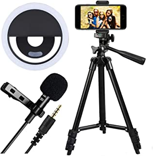 Tripod Stand with Lapel Mic Selfie Ring Light 23045