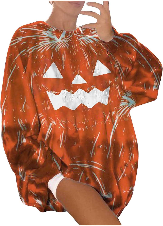 Oversized Sweatshirts for Womens Halloween Pumpkin Print Pullover Long Sleeve Festival Tops Cute Comfy Blouse