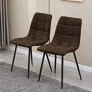 N/Q KJ - Juego de 2 sillas de comedor con asiento acolchado y respaldo, sillas de cocina con patas de metal, sillas de recepción para sala de estar (marrón)