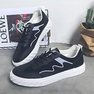 2019 New Trend White Shoes Men's Low Cut Breathable Canvas Shoes Wild Casual Shoes (Color : Black, Size : 43)