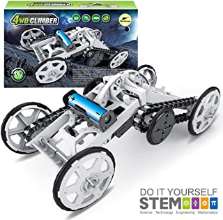 Mochoog STEM 4WD Electric Mechanical Assembly Gift Toys Kit   Intro to Engineering, DIY Climbing Vehicle, Circuit Building Projects for Kids and Teens   DIY Science Experiments Using Real Motor
