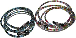 ATLanyards Set of 2 Beaded Glasses Lanyards - Peacock and 32 Color with Black Grips - Glasses Holder Strap for Women - Eyeglass Around the Neck - Glasses Necklace Bundle Black Grips (Small)