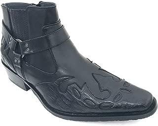 Alberto Fellini W1TCJ Men's Cowboy Boots Western Ankle Harness Leather Lining Side Zipper Shoes