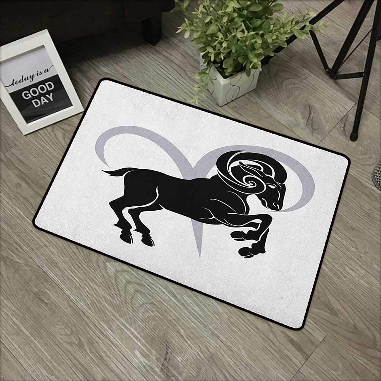 Meeting Room mat W35 x L59 INCH Zodiac Aries,Black Silhouette of a Astrological Animal Standing on Grey Sign, Black Pale Grey and White Non-Slip Door Mat Carpet
