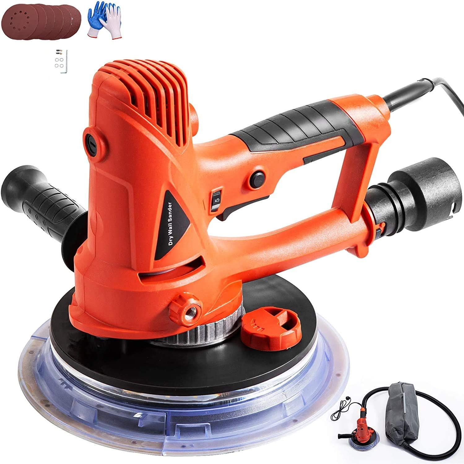 Electric Drywall Sander with Automatic Vacuum System and LED Light,Variable Speed 1200-2500RPM,Handheld Drywall Sander with a Carry Vacuum Bag and 6 pcs Sanding Discs Mophorn Drywall Sander 710W