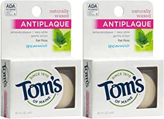 Tom's of Maine Natural Waxed Antiplaque Flat Floss, Spearmint, 32-Yards, Pack of 2