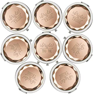 Cuterui Bridesmaid Gifts Bride Tribe Compact Makeup Mirrors for Bachelorette Bridal Shower Gifts(Pack of 8,Champagne)
