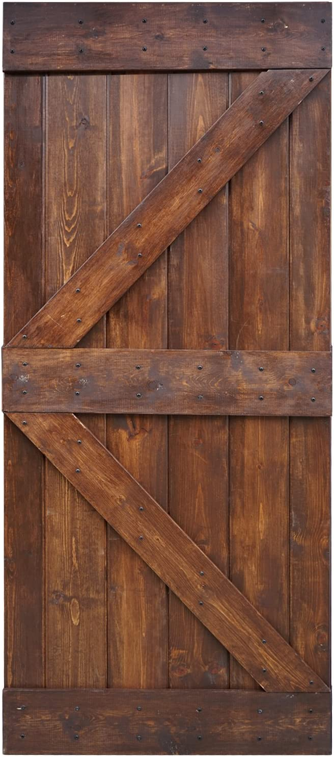 Amazon Com Wellhome 36 In X 84 In K Series Diy Dark Walnut Finished Knotty Pine Wood Barn Door Dark Walnut Home Improvement