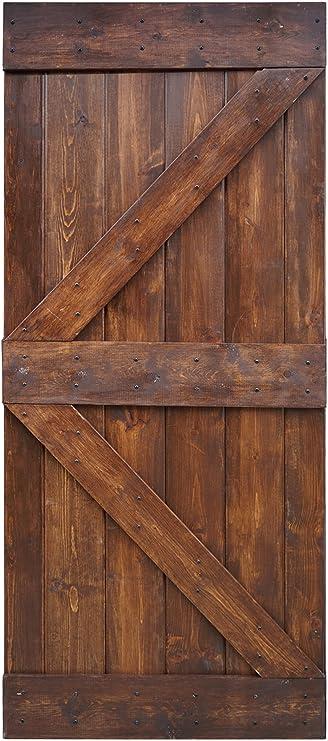 Wellhome 36 In X 84 In K Series Diy Dark Walnut Finished Knotty Pine Wood Barn Door Dark Walnut Home Improvement Amazon Com