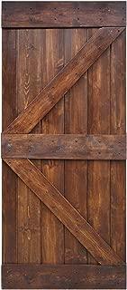WELLHOME 36inX84in K Series DIY Knotty Pine Sliding Barn Door Slab (Dark Walnut)