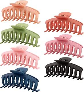 Meshatty 7Pcs Big Hair Claw Clips 4 Inch Nonslip Large Claw Clip, Strong Hold Hair Catch Barrette Jaw Clamp for Women and ...