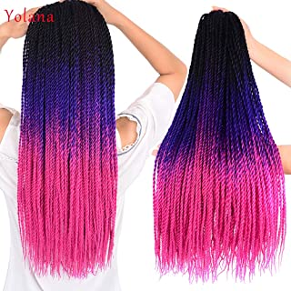 24 inch Ombre Senegalese Twist Hair Crochet braids 30 Roots/pack Synthetic Braiding Hair for Women (6 Packs/Lot,Black/Purple/Rose Red)