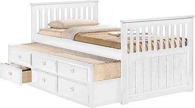Benjara Benzara Beautiful Wooden Storage Bed with Trundle, White,