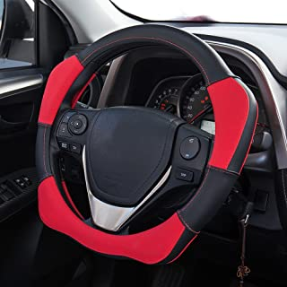 Mr.Ho Odorless Microfiber Leather Steering Wheel Cover Universal 15inch for Automotive Interior Accessories-Durable, Breathable, Anti slip, Odorless-Red