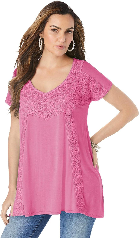 Roaman's Women's Plus Size Popular brand in the world Crochet Tunic 40% OFF Cheap Sale T-Shirt Long Swing