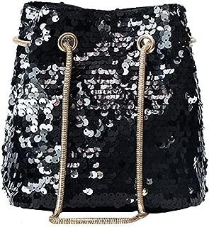 Women Glitter Reversible Sequins Shoulder Bag Small Drawstring Bucket Bag Chain Bag Handbag