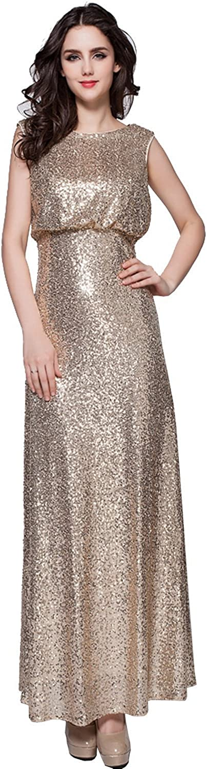Anna's Bridal Women's Scoop Sequin Evening Dresses Long Prom Gowns