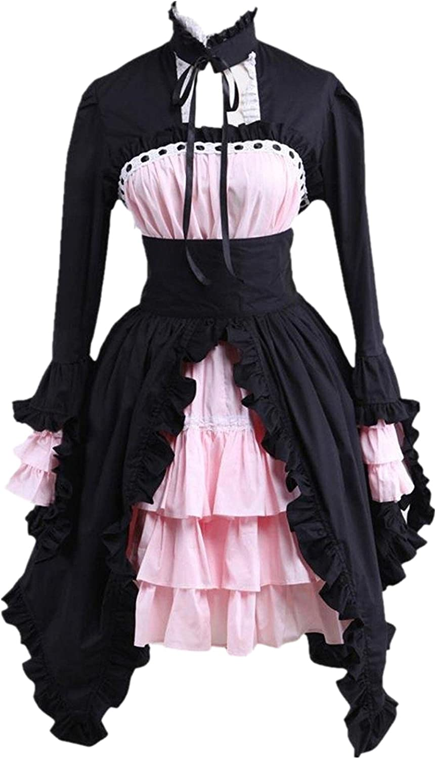 Ainclu Womens Black and Pink Cotton Gothic Lolita Dress
