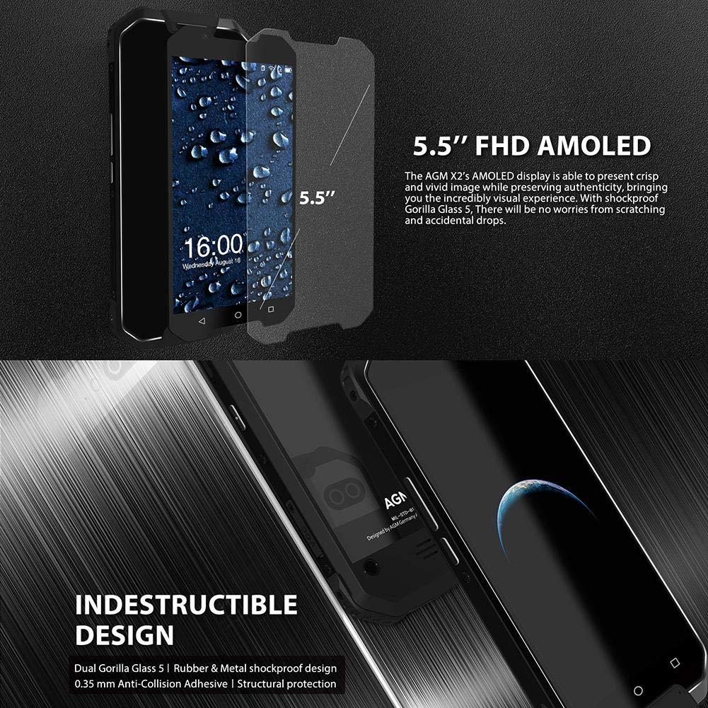 iPenty AGM X2 5,5 Pulgadas 6 GB RAM/128 GB ROM Rugged Smartphone 4 ...