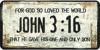John 3:16 For God So Loved the World Plastic License Plate