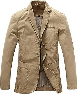 LEOCLOTHO Men's Casual Blazer Slim Fit Classic Military Suit Jacket Multi-Pocket Light Coat