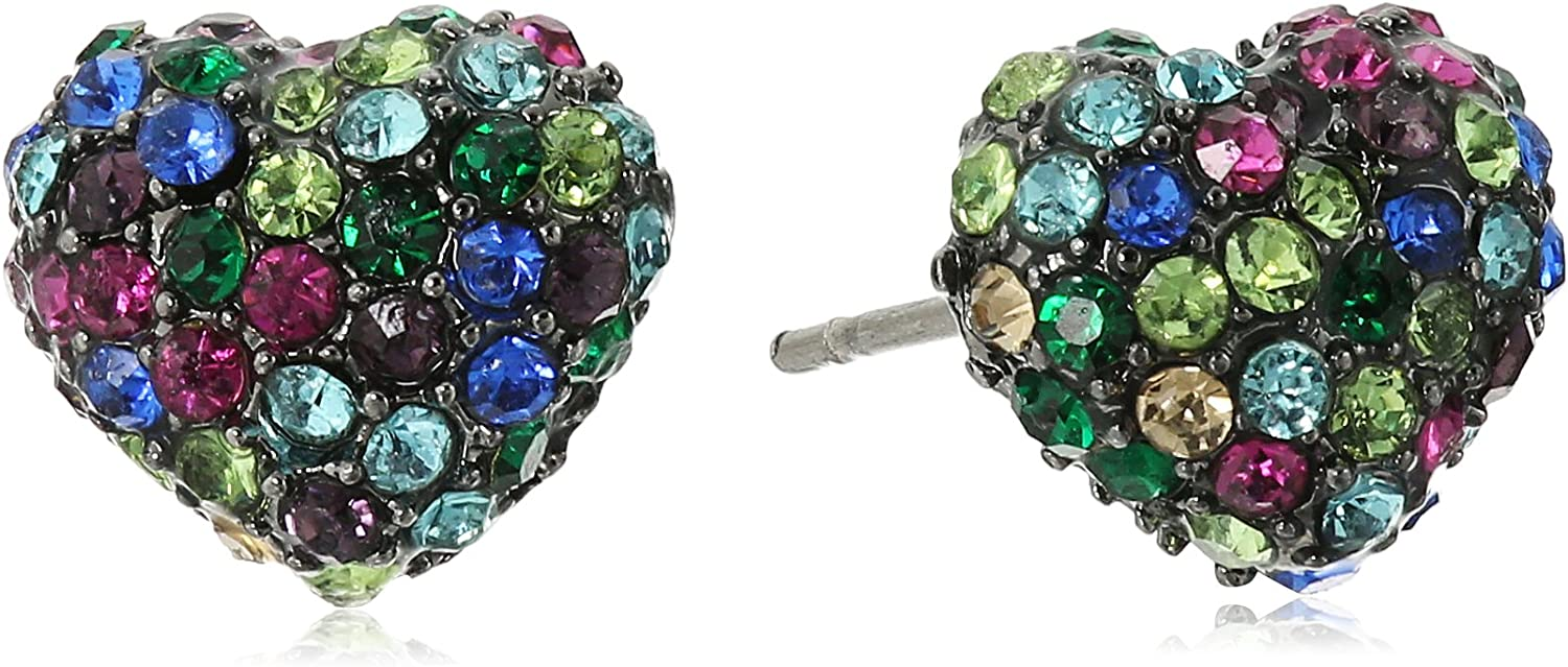 Betsey Johnson Pave Mixed Multi-Colored Stone Heart Stud Earrings