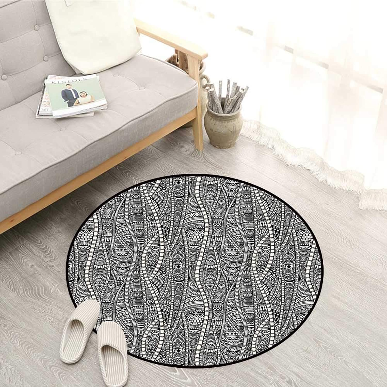 Black and White Skid-Resistant Rugs Rich Etnic Ornament with Tribal African Motifs Artistic Zentangle Vintage Sofa Coffee Table Mat 4'3  Black White
