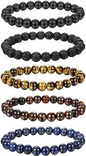 5-6 Pcs 8MM Natural Healing Stone Bracelets for Men Women Beaded Bracelets Elastic