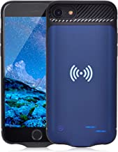 Qi Battery Case for iPhone 6 6S 7 8, 3800mAh Portable Wireless Charging Battery Extra Battery External Battery Case Battery Rechargeable Power Bank Battery Case for iPhone 8/7 / 6S / 6 (Blue)