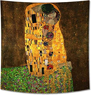 GUAMISS Print Hanging Wall Tapestry Wall Blankets Wall Decor –Gustav Klimt – The Kiss – 200X150 cm (Approx. 80X60 inch) – Figurative Reproductions Prints