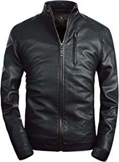 Mens Leather Jacket Classic Moto Zip Up Black