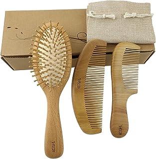 برس موی طبیعی با موی های چوبی ماساژ پوست سر و گردن براق و هلو چوب برای مردان و زنان 3 عدد
