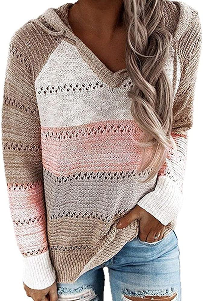 NP Autumn V-Neck Hooded Sweater Women's Casual Long Sleeve Knitted Sweater Winter