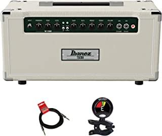Ibanez TSA30H 30-watt All-tube Guitar Amplifier Head Bundle with Built-in TS9 Tube Screamer Tone Circuit and Separate Gain and Volume Controls with Clip On Guitar Tuner and Instrument Cable