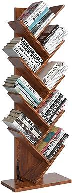 Homfa Tree Bookshelf, 9-Shelf Bookcase Rack, Free Standing Book Storage Organizer, Books/CDs/Albums/Files Holder in Living Ro