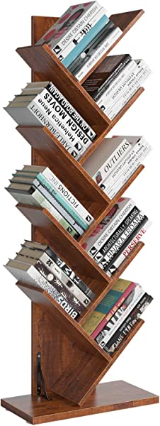 Homfa Tree Bookshelf 9 Shelf Bookcase Rack Free Standing Book Storage Organizer Books CDs Albums Files Holder In Living Room Home Office Walnut Large