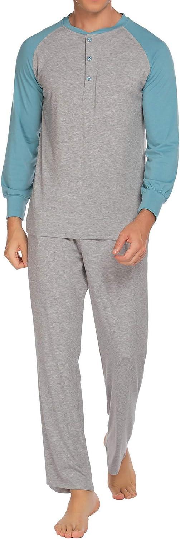 Ekouaer Sleepwear Men's Pajama At Max 71% OFF the price of surprise Set Sleep Sleeve an Top Long