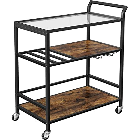 Sei Furniture Zephs Metal And Tempered Glass Locking Castor Wheels Bar Cart 40 W X 16 D X 37 25 H Gunmetal Black Bar Serving Carts
