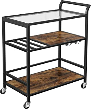 VASAGLE Bar Cart, Serving Cart on Wheels with Storage Shelf, Wine Glass and Bottle Holders, Glass Top, Industrial, Rustic Bro