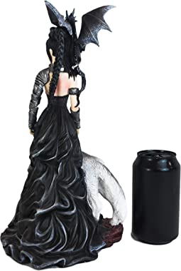 """Ebros Gothic Prima Donna Maleficent Witch Fairy with Alpha Wolf and Black Dragon Statue 13"""" Tall by Artist Nene Thomas Fa"""