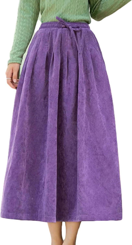 Yeokou Women's Casual Loose Baggy Elastic Waist Corduroy Long Skater Flared Skirt